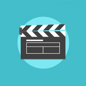 Film shooting and production flat icons set